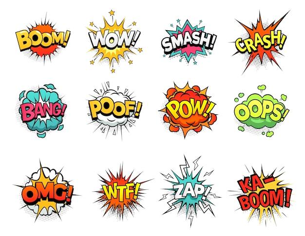 Komiks Kreskówka Wybuch Chmury. Dymek, Ekspresja Znaku Boomu I Ramki Tekstowe W Stylu Pop-art Premium Wektorów