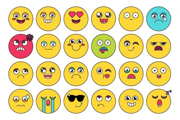 Komiks, słodki pakiet naklejek emoji Premium Wektorów