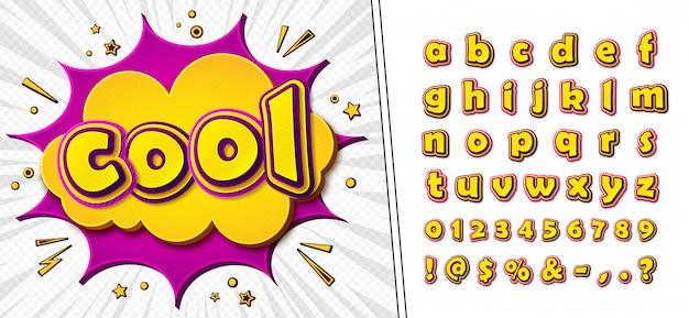 Komiksowa Czcionka. Cartoonish żółto-różowy Alfabet Na Stronie Komiksu Premium Wektorów