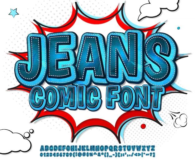 Komiksowa czcionka jeansowa w stylu pop-art Premium Wektorów