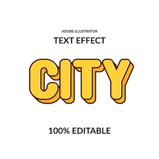 Komiksowy Miejski Okrągły żółty Edytowalny Efekt Czcionki Dla Dzieci I Gry Premium Wektorów
