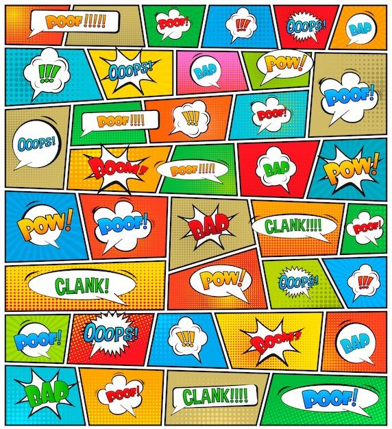 Komiksy pop-art styl pusty układ szablonu. Premium Wektorów