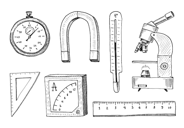 Kompas I Magnes, Alpelmet Z Termometrem I Mikroskopem. Premium Wektorów