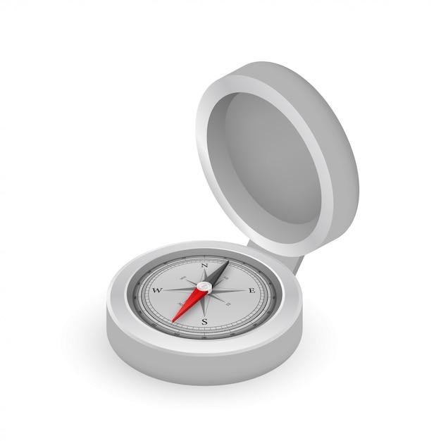 Kompas Na Białym Tle. Płaski Symbol Nawigacyjny. Ilustracji. Premium Wektorów
