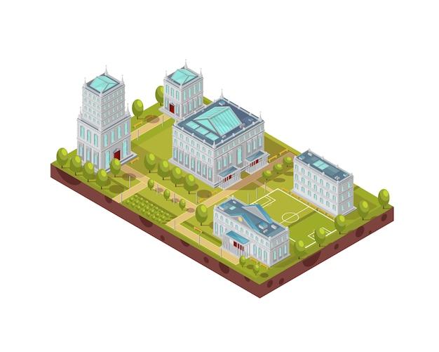 Kompleks budynków uniwersyteckich z boiskiem do piłki nożnej, zielonymi drzewami, ławkami i chodnikami izometrycznym układem ilustracji wektorowych Darmowych Wektorów