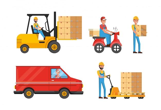 Komplet Dostawców Z Usługą Transportu I Dystrybucji Skrzynek Premium Wektorów