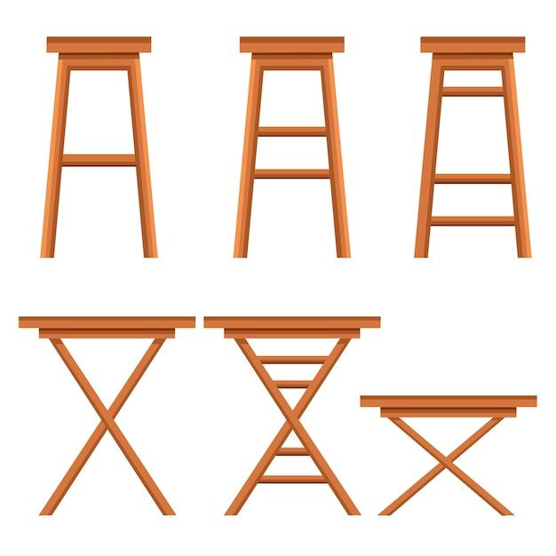 Komplet Krzeseł Barowych. Drewniana Kolekcja Ochry. Retro Stołki Barowe Lub Kawiarniane. Ilustracja Na Białym Tle. Premium Wektorów