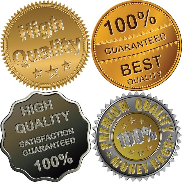 Komplet Medali Złotych, Srebrnych I Brązowych Za Najlepszy, Premium, Wysokiej Jakości, Gwarantowany, Na Białym Tle Premium Wektorów
