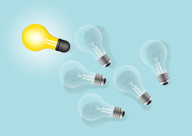 Komplet Układania żarówek Z Jednym świecącym. Koncepcja Kreatywna Pomysł żarówki. Premium Wektorów