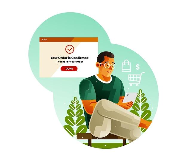 Kompletne Zamówienie Potwierdź Za Pomocą Płatności Mobilnej Premium Wektorów