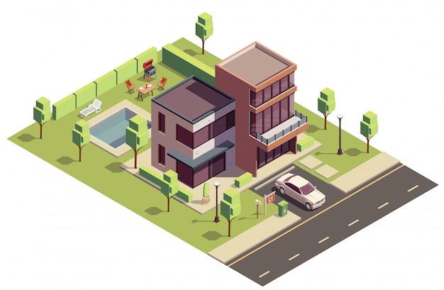 Kompozycja Izometryczna Budynków Na Przedmieściach Z Widokiem Na Prywatny Budynek Mieszkalny Z Samochodem I Basenem Na Podwórku Darmowych Wektorów