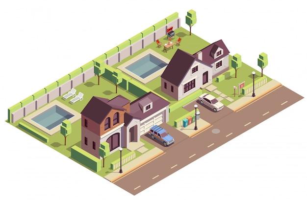 Kompozycja Izometryczna Budynków Na Przedmieściach Z Widokiem Na Zewnątrz Dwóch Dzielnic Z Willami I Podwórkami Darmowych Wektorów