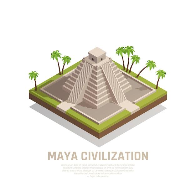 Kompozycja Izometryczna Piramidy Majów Darmowych Wektorów