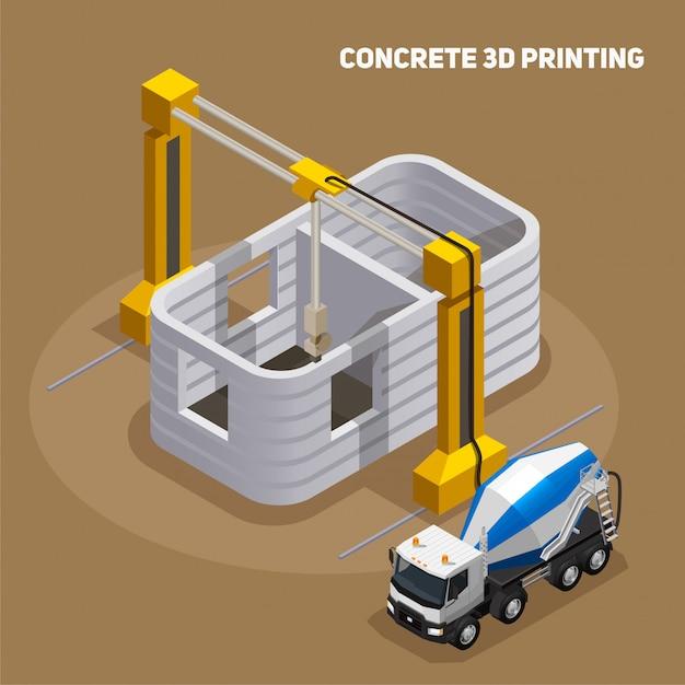 Kompozycja Izometryczna Produkcji Betonu Z Widokiem Na Drukowany Budynek 3d W Budowie Z Betonowozu Darmowych Wektorów