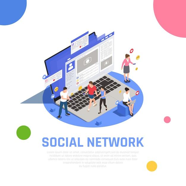 Kompozycja Izometryczna Sieci Mediów Społecznościowych Na Laptopie Z Aplikacjami Uzależnionymi Od Smartfonów Użytkownicy Komunikują Się Udostępnianiem Wiadomości Darmowych Wektorów