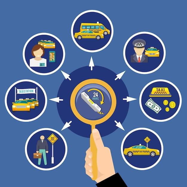 Kompozycja Koncepcyjna Taxi Z Okrągłymi Obrazami Taksówek Taksówek I Ilustracją Piktogramów Zamówień Dwudziestu Czterech Godzin Darmowych Wektorów
