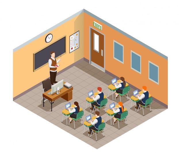 Kompozycja Osób Izometrycznych Z Liceum Z Obrazami Uczniów I Nauczycieli W środowisku Klasowym Z Meblami Darmowych Wektorów