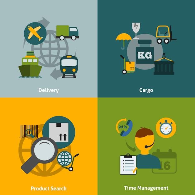 Kompozycja płaskich elementów logistycznych Premium Wektorów
