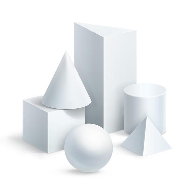 Kompozycja Podstawowych Kształtów Geometrycznych. Piłka, Sześcian, Cylinder, Pryzmat, Piramida I Stożek Postać Na Białym Tle Premium Wektorów