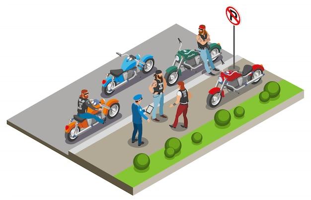 Kompozycja Rowerzystów Z Wizerunkami Motocykli I Postaci Ludzkich W Scenerii Ulicznego Chodnika Z Policjantem Darmowych Wektorów