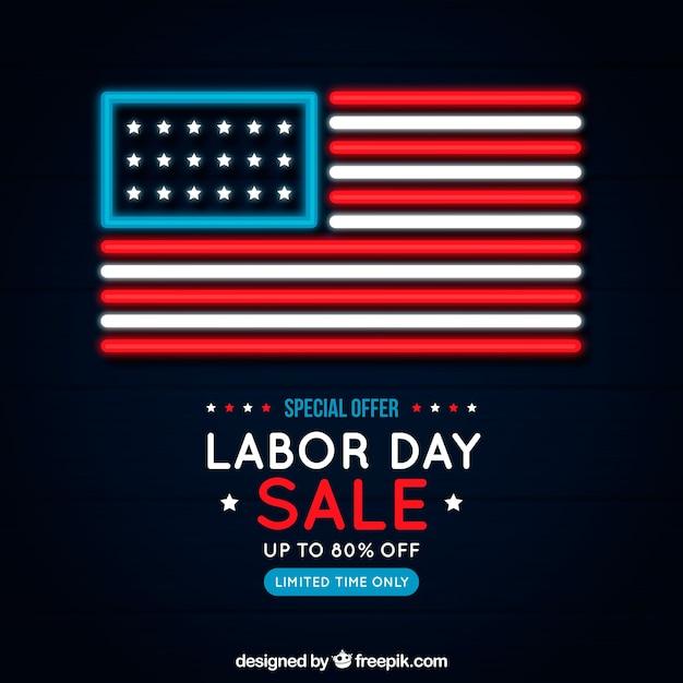 Kompozycja Sprzedaży Dzień Pracy Z Neonowym Stylem Darmowych Wektorów