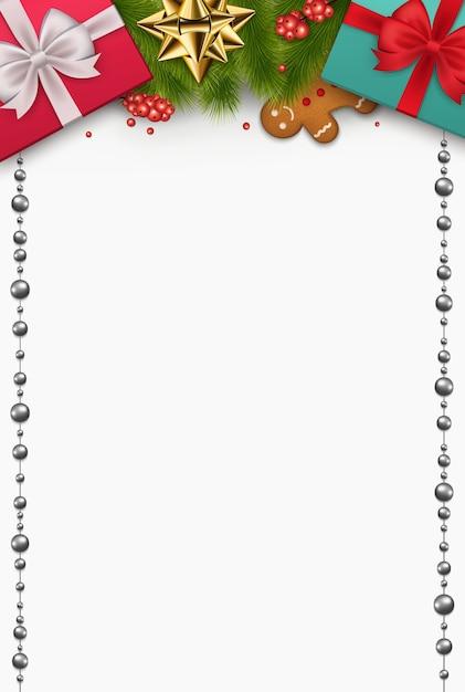 Kompozycja świąteczna Prezenty Noworoczne, Gałęzie Sosny, Herbatniki, Ozdoby Na Białym Tle. Widok Z Góry Na Uroczysty Wystrój. Premium Wektorów