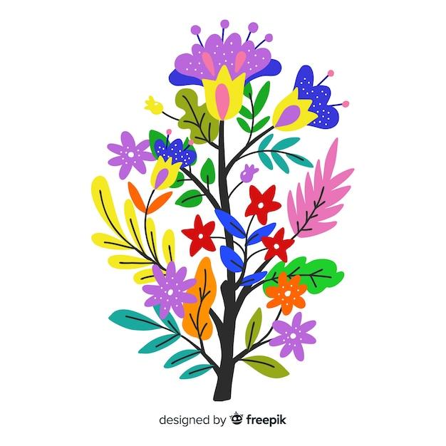 Kompozycja Z Kwiatów I Gałęzi Kwiatowych W Ciepłych Kolorach Darmowych Wektorów