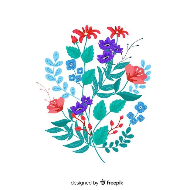 Kompozycja Z Kwiatów I Gałęzi Kwiatowych W Niebieskich Odcieniach Darmowych Wektorów
