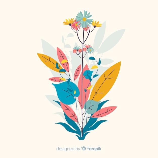 Kompozycja Z Kwiatów I Liści Kwiatów Darmowych Wektorów
