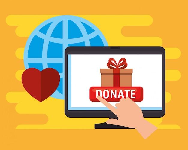 Komputer do internetowej darowizny na cele charytatywne Darmowych Wektorów