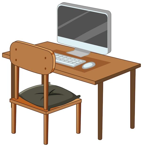 Komputer Na Biurku Na Białym Tle Darmowych Wektorów