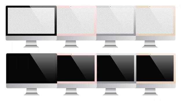 Komputer Ustawiający Odizolowywającym Na Białym Tle. Ilustracji Premium Wektorów