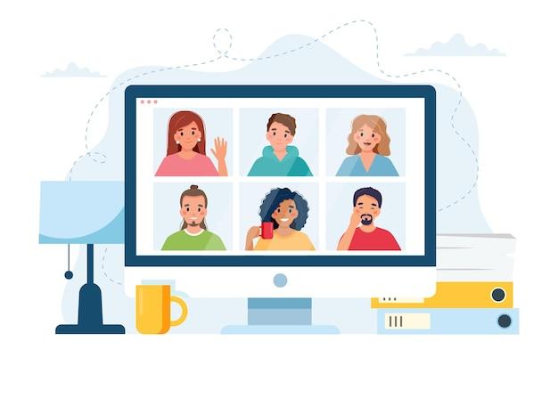 Komputer Z Grupą Osób Wykonujących Połączenie Grupowe. Spotkanie Online Za Pośrednictwem Wideokonferencji. Premium Wektorów