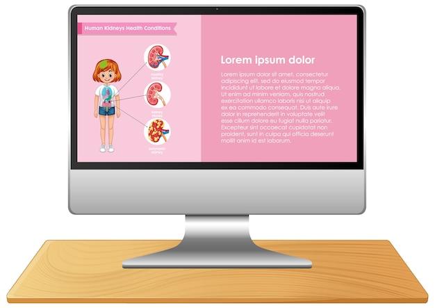 Komputer Z Infografiką Nauki Na Ekranie Pulpitu Premium Wektorów
