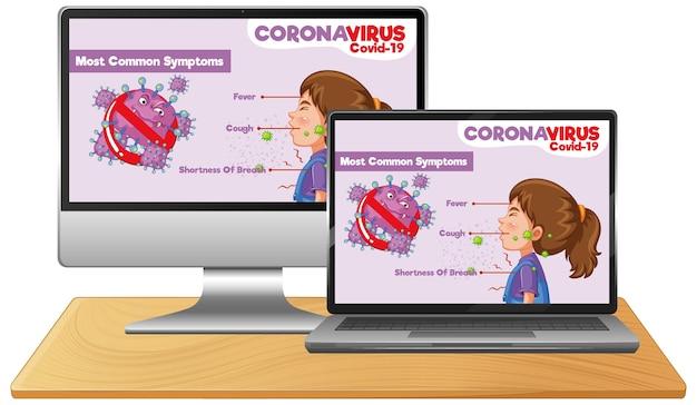 Komputer Z Informacjami O Covid-19 Na Ekranie Pulpitu Premium Wektorów