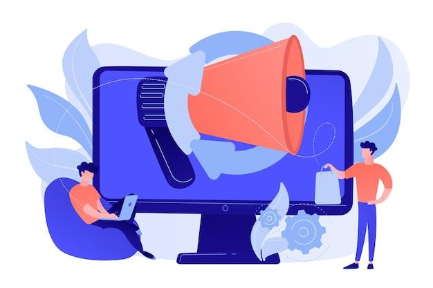 Komputer Z Megafonem I Biznesmenem Z Laptopem I Torbą Na Zakupy. Marketing Cyfrowy, E-commerce, Koncepcja Marketingu Mediów Społecznościowych. Różowawy Koralowy Bluevector Ilustracja Na Białym Tle Darmowych Wektorów