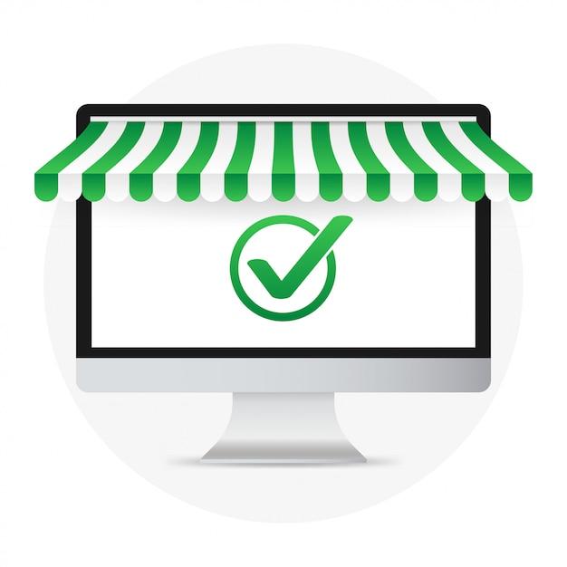 Komputer Z Zatwierdzonym Powiadomieniem Zaznaczenia Pomyślne Działanie Zaznacz Znak Pc Z Powiadomieniem Zaznaczenia Premium Wektorów