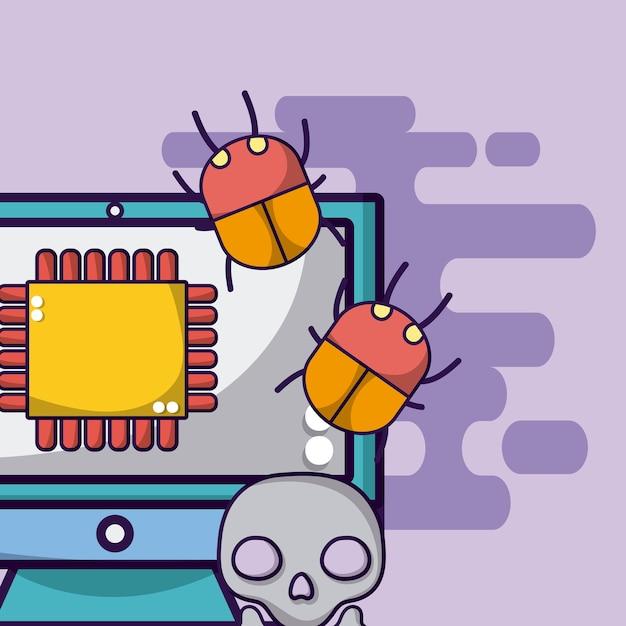 Komputerowy Procesor Z Błędami I Wirusem Premium Wektorów