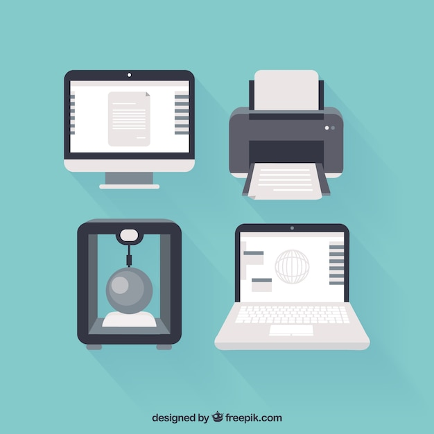 Komputery I Drukarki Ikony Premium Wektorów