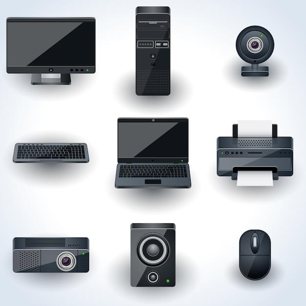 Komputery i urządzenia peryferyjne wektorowe ikony. kolekcja realistycznych miniatur Premium Wektorów