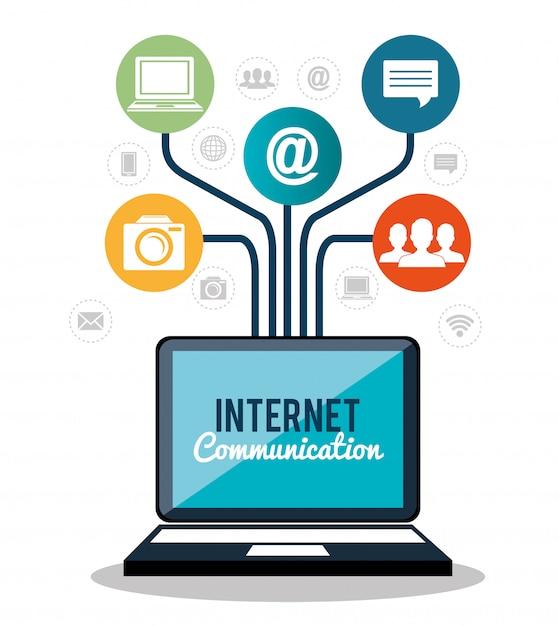 Komunikacja internetowa Darmowych Wektorów