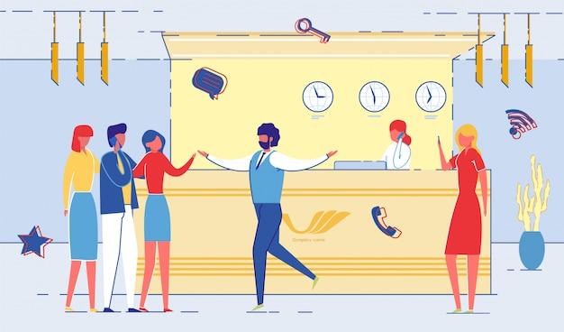 Komunikacja pracowników biurowych w recepcji mieszkanie. Premium Wektorów