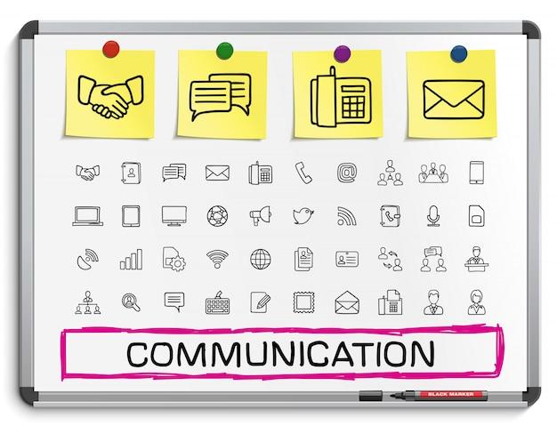 Komunikacja Ręcznie Rysowanie Linii Ikon. Doodle Zestaw Piktogramów, Szkic Ilustracji Znak Na Białej Tablicy Z Naklejkami Papierowymi, Biznes, Media Społecznościowe Premium Wektorów