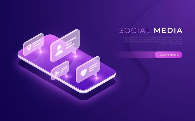 Komunikacja W Mediach Społecznościowych, Nawiązywanie Kontaktów, Rozmowy, Wiadomości, Po Koncepcji Izometrycznej Ilustracja Wektorowa Premium Wektorów