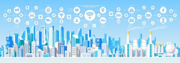 Komunikacja W Mediach Społecznościowych Połączenie Z Siecią Internet City Skys Premium Wektorów