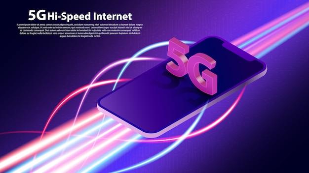 Komunikacja w sieci bezprzewodowej 5g Premium Wektorów