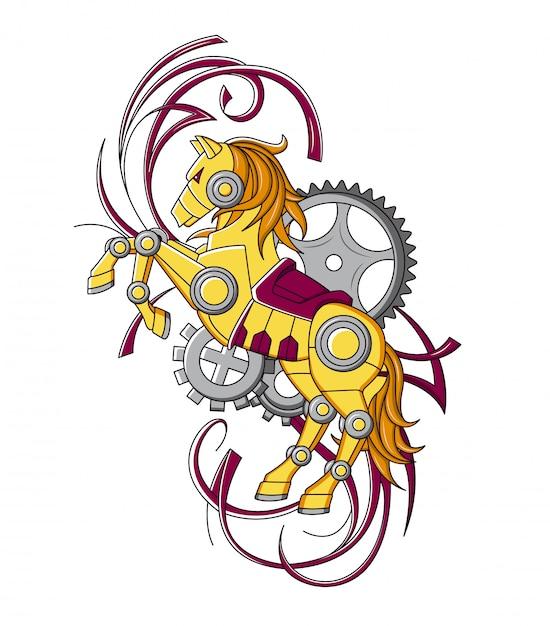 Koń w stylu mechanicznego steampunk Premium Wektorów