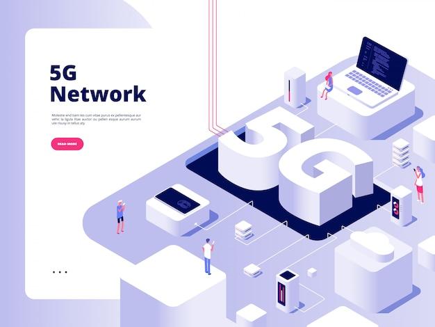 Koncepcja 5g. Wifi Telekomunikacja Technologia 5g Prędkość Szerokopasmowego Internetu Piąty Hotspotów Wifi Globalna Sieć Premium Wektorów