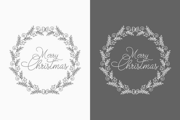 Koncepcja Abstrakcyjna I Dekoracyjne Boże Narodzenie Wieniec Tła Z Elementami Twórczymi Premium Wektorów