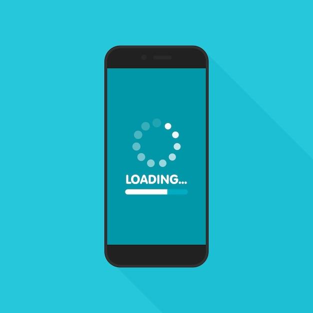 Koncepcja Aktualizacji I Aktualizacji Oprogramowania Systemowego. Proces ładowania Na Ekranie Smartfona. Ilustracja. Premium Wektorów